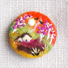 Sunset Brooch, Needle felted brooch, 'Eventide Cottage' pin, Cottage Felt Brooch, wool, Valentine, Mothers Day Gift, Choose Pin Shape by iwantcraft on Etsy https://www.etsy.com/ca/listing/245315439/sunset-brooch-needle-felted-brooch
