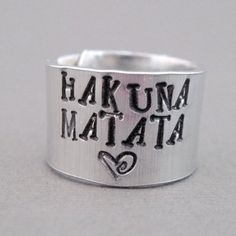 I found 'Disney Lion King Ring - Hakuna Matata - Hand Stamped Aluminum' on Wish, check it out!