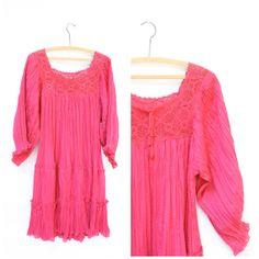 1970's hippie gauze dress vintage pink by WindingRoadVintage, $50.00