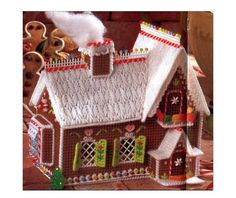 Gingerbread House Plastic Canvas Needlepoint Pattern Christmas Decor Vintage Crafts Dollhouse