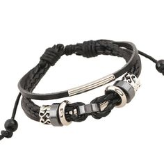 Bead Bracelet Woven Punk Leather Bracelet For Men Jewelry Hip-hop Multilayer Braid Wrap Bracelets & bangles Pulseira masculina Mens Gold Bracelets, Metal Bracelets, Bangle Bracelets, Bangles, Black Leather Bracelet, Leather Jewelry, Men's Jewelry, Punk Jewelry, Leather Chain