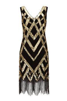 Glitz Vintage Inspired Flapper Embellished Fringe Dress