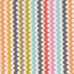 scallop print. Love how the gray breaks up this rainbow. I'd make a skirt from these colors