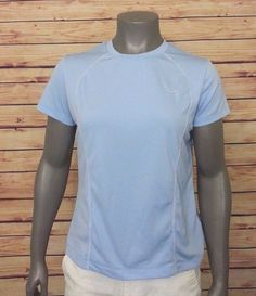 Nike Performance athletic top short sleeve womens size M blue gym workout run #Nike #KnitTop