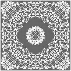 Filet Crochet Charts, Crochet Doily Patterns, Cross Stitch Borders, Cross Stitch Patterns, Crochet Carpet, Fillet Crochet, Crochet Tablecloth, Tapestry Crochet, Stencil Painting
