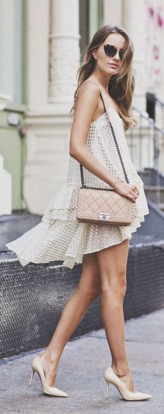 Soho Heels Styling- love this nude and textured look.