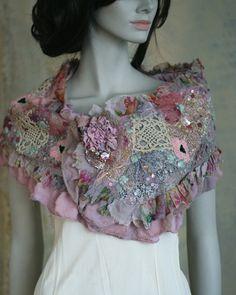Wintergarden soft scarf antique lace base by FleursBoheme