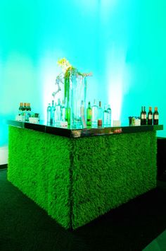 Ronen Bar and Furniture Rental provided the grass-covered bars. Re-pinned by www.apebrushes.com. GREENS BRUSHES THAT REALLY WORK!