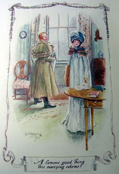Northanger Abbey illustration by C.E. Brock. Repulsive John Thorpe awkwardly tries to propose to Catherine Morland.