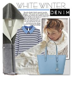 """""""On Trend: Winter White Denim"""" by serepunky ❤ liked on Polyvore featuring True Religion, MICHAEL Michael Kors, Givenchy, denim, grey, serenity, winterwhite and KneeBoots"""