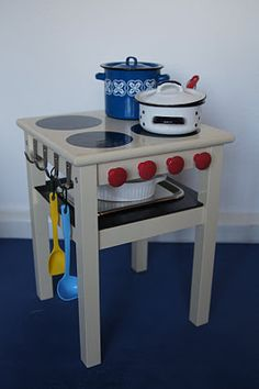 Side Table / Stool to Kids Play Stove ~ Redeeming Creations....so cute, so easy.