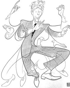 Al Hirschfeld - Danny Kaye in one of his Betty Hutton-esque routines. Art Et Illustration, Illustrations, Black And White Portraits, Comic Artist, Painting & Drawing, Painting Styles, Drawing Board, Drawing Tips, Poses
