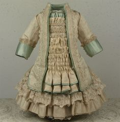 MARVELOUS Ivory Silk Satin Couturier Costume for JUMEAU, BRU or other FRENCH BEBE Doll