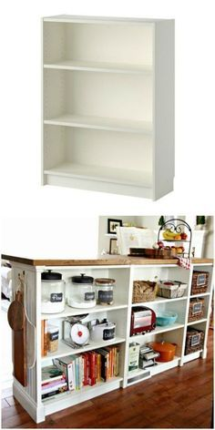 Turn you short Billy bookcase into a double-duty kitchen island using this IKEA hack! #kitchenisland