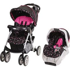 Not a big fan of pink but this would be a cute carseat and stroller. Car Seat And Stroller, Travel Stroller, Baby Car Seats, Double Strollers, Baby Strollers, Travel Systems For Baby, Baby Equipment, Thing 1, Prams