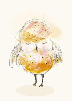 'Sleepy Owl' von Paola Zakimi bei artflakes.com als Poster oder Kunstdruck $16.63
