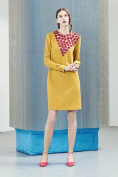 Alexander Lewis | Pre-Fall 2015 | 16 Yellow long sleeve mini dress with red floral details