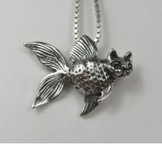 Cat Fish Pendant in Sterling Silver