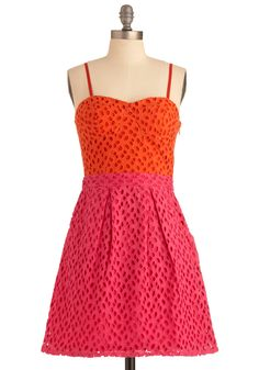 Two Times the Cute Dress - Mid-length, Pink, Eyelet, Pockets, A-line, Spaghetti Straps, Party, Orange, Spring, Summer