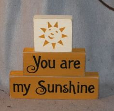 You Are My Sunshine Word Blocks-word, stacker, sitter, blocks, wood, hand painted, sunshine, primitive, nursery