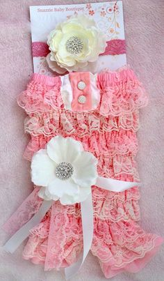 Petti Romper and headband set-Headband- newborn headband,baby girl headband, toddler headband- Pink and white romper set- photogrpahy prop. $35.00, via Etsy.