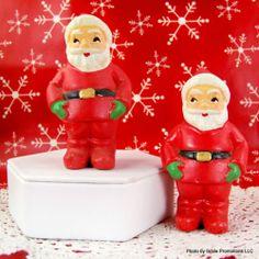 Japan 2pc Set Vintage Chalkware Santa Claus Ornament Figurine RARE Collectible | eBay