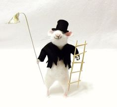 Ye Olde Lamplighter Is A Needle Felted Mouse Who by WildWoodHollow SOLD