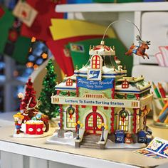 "Department 56: Products - ""Letters To Santa Sorting Station"" - View Lighted Buildings. Retired north pole"