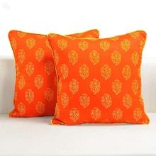 Swayam Printed Cushion Cover - Standard - 5-Piece Set - Orange & Yellow - Floral