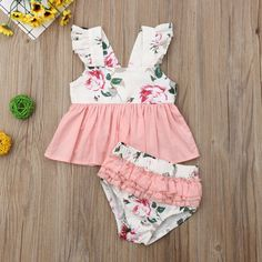 b824442c2 2PCS Newborn Baby Girls Flower Ruffle Top Dress Shorts Pants Briefs Set  Summer Clothes Outfits Clothing