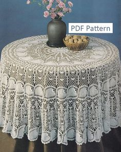 Round Pineapple Tablecloth Crochet Pattern - PDF Instant Download Pattern    180 cm (71) in diameter when made with Size 10 cotton thread. Pattern