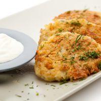 Cheesy potato pancakes - from leftover mashed potatoes - http://www.recipe4living.com/recipes/cheesy_potato_pancakes.htm