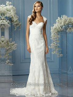Sheath/Column Sweetheart Lace Satin Sweep Train White Draped Wedding Dresses