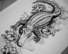 alligator tattoo sketch on behance - alligator sketch Alligator Tattoo, Arm Tattoos, Sleeve Tattoos, Tattoo Sketches, Tattoo Drawings, Krokodil Tattoo, Sketch Faces, Louisiana Tattoo, Kunst Tattoos