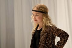 A retro 70's look for girlswear with headband and gold sequin jacket at PETIT by Sofie Schnoor for fall/winter 2013/14 kidswear.