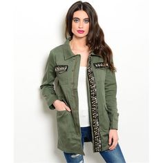 ❄️WINTER SALE❄️ Embellished Army Green Jacket A must have for fall!! PLEASE DO NOT BUY THIS LISTING. Comment with your size when you're ready to purchase and I'll make you a new listing. trades. PayPal. Jackets & Coats