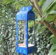 Milk carton bird feeder project.  Don't forget drainage holes if you live in Portland, OR!