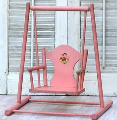 Vintage Pink Wood Doll Chair Swing