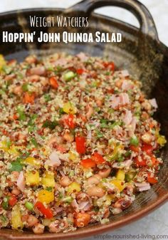 Weight Watchers Hoppin John Salad with Quinoa, a simple and delicious modern interpretation of an old southern New Year's tradition. This easy, healthy low fat side dish comes together in less than 30 minutes. 202 calories, 5 #PointsPlus.  #weightwatchers #recipes http://simple-nourished-living.com/2014/12/weight-watchers-hoppin-john-salad-quinoa/