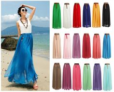 Women Summer Chiffon Pleated Retro Maxi Long Maxi Dress Elastic Waist Bust Skirt #Unbranded #FullSkirt