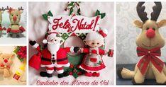 5 Moldes para hacer renos y muñeco de santa claus y señora claus en fieltro