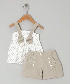 White Polka Dot Bow Top & Gray Shorts - Infant, Toddler & Girls by P'tite Môm on #zulily