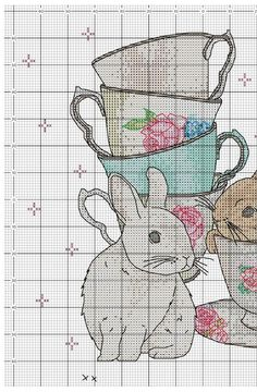 My Cross Stitch Gallery, bunnies and tea cups with flowers