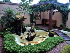 42 Awesome Fish Ponds Design Ideas For Your Backyard Landscape - When I first pondered putting in a backyard fish pond, I returned to the recollections of the pond I had seen as a child. That pond was not by any str. Backyard Garden Design, Ponds Backyard, Small Garden Design, Backyard Ideas, Pool Ideas, Desert Backyard, Backyard Designs, Backyard Patio, Outdoor Ideas