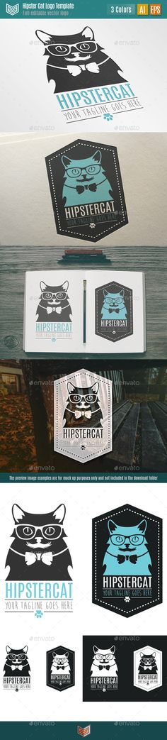 Hipster Cat Logo. A modern, trendy and cute hipster cat vector logo with a vintage mustache and an elegant bow tie. Available in two forms, regular and framed.  Suitable for multiple purposes, companies, businesses, startups, studies, etc.