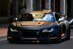 Custom matte black & orange Audi R8.. I want a matte black Mercedes.. In love with Matte black right now