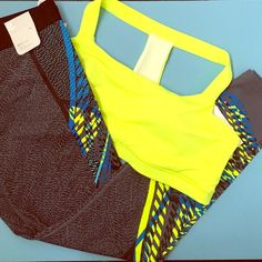 GAP Sports Bra and Leggings. NWT! In perfect condition! Never been worn. Bold exercise leggings and sports bra. Neon yellow gray black and blue. GAP Other