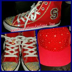 Perfect combination sneakers with the hat #rhinestones #pearls # converses #snapbackhat #customkicks #fashionkicks #keishacustomedesigns