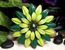 "Vintage HUGE 3 1/2"" Shades of Green Enamel Flower Pin Brooch - MINT!"