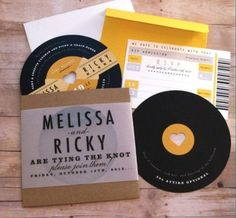 Music Lovers Retro Record Wedding Invitation / An ode to our roots, these wedding ideas make us nostalgic! 50s Wedding, Rockabilly Wedding, Wedding Themes, Wedding Cards, Party Themes, Wedding Music, Retro Wedding Theme, Wedding Venues, Greek Wedding